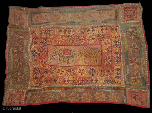 Ceremonial Banjara Figurative Folk Chakla From Maharashtra western region of India. India. Embroidered on cotton.C.1900.Its size is 70cmX103cm(20171030_165544 New)