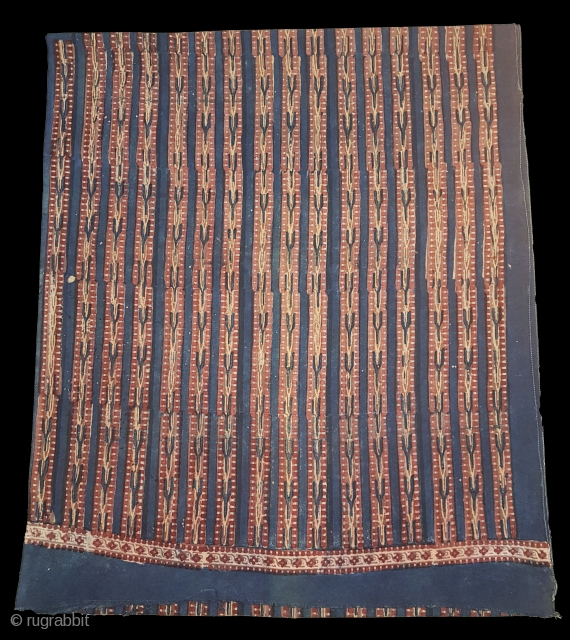 Indigo Blue,Early Daabu Block Print Yardage,(Natural Dyes on cotton) From Balotra, Rajasthan. India.C.1900. Its size is 68cmX456cm(20171127_104256 New).