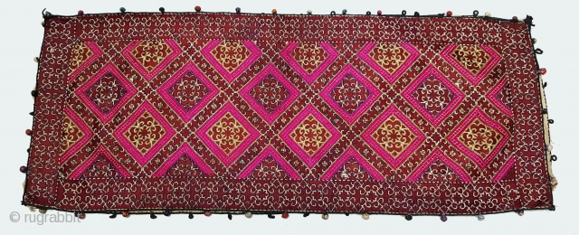 Pillow-Cover,Swat Valley(Pakistan). India.Cotton embroidered with floss silk.with woolen Braiding and Tassels.C.1900.Its size is 40cmx80cm(20171229_155707 New).
