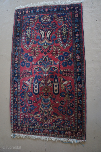 "Ca. 1920 washed and painted red Sarouk with a more unusual design. Fine weave and very nice pile throughout, complete ends and edges. 27"" x 47"" No rot, weakness, odor or stains  ..."