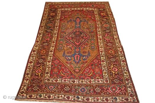 "Kurd Bijar rug; 4'1"" x 7'0; wool on wool; circa 1890; id JF4150"