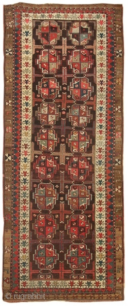"Persian Kurd runner; design inspired by Turkman; 4'1"" x 10'1""; excellent condition; circa 1890; id: JF4187"