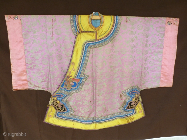 A short Informal robe of China in rose silk with yellow imperial.