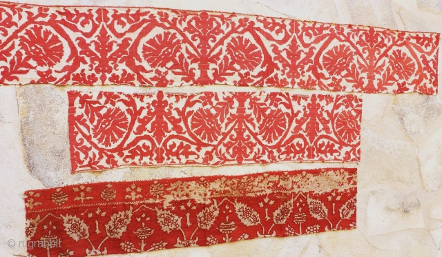 Two embroideries probably OTTOMAN circa 1800 First part 124 x 19. – Second  80 x 19  And one embroiderie probably Italian Renaissance 78 x 18 price upon request