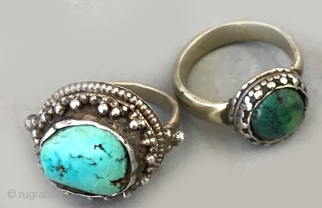 Tibetan rings with turquoise in silver settings Both antique