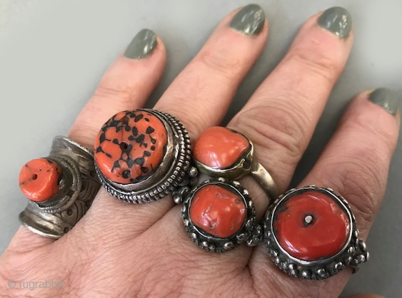A grouping of antique  coral rings, mostly Tibetan with one that is from Yemen. (above center ) please ask for prices on each.