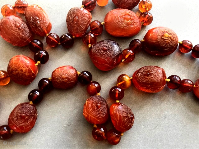 Re listing better photos. Super rare Chinese gem quality amber necklace, carved with auspicious spiders , web , carved branches and leaves. Done during the late Victorian/ early Edwardian period  by  ...