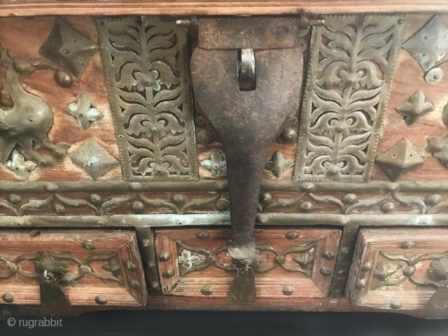 Early wood and iron decorated storage  box having three drawers. India 18th cc