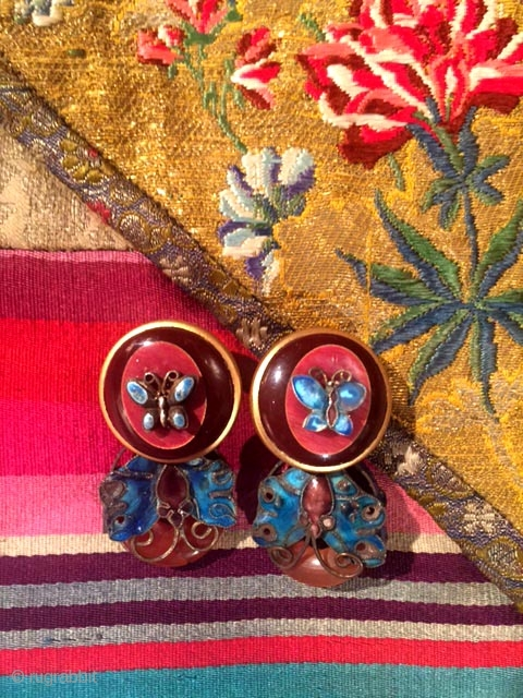 pair of designed earrings with Chinese enamel and carnelian