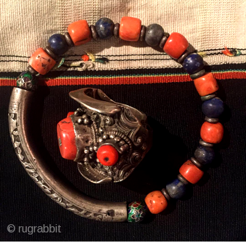 Mongolian coral and lapis bangle and Tibetan man's hair ring from Kham
