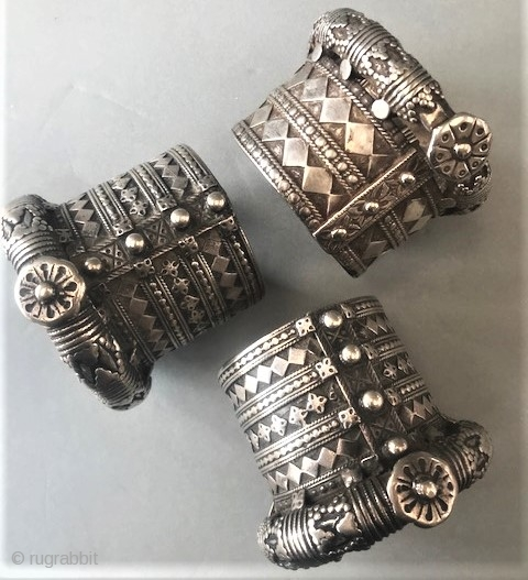 Matched pair and a single (sold as a pair ) and sold as a single of very old silver bangles from Rajasthan .