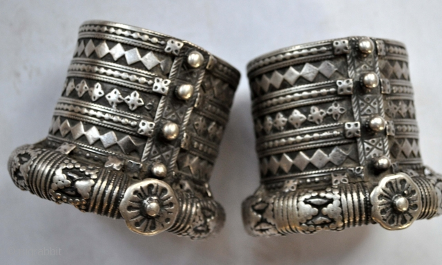 Really nice pair of silver cuffs, with applied decoration great silver late 19th c India