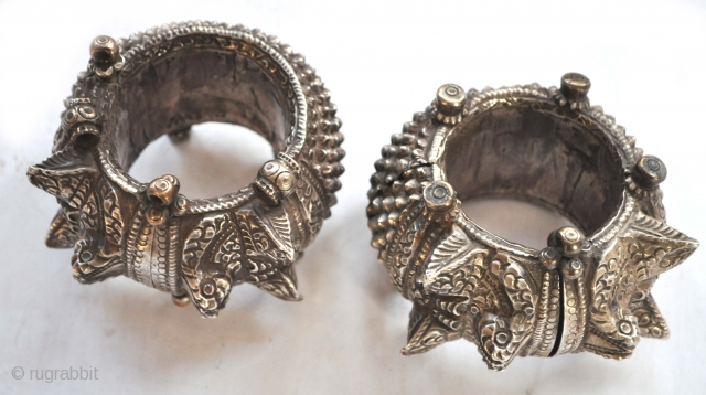 Massive cuffs or anklets, silver, from Baroda area, used by wealthy woman of the business class, India 19th c              