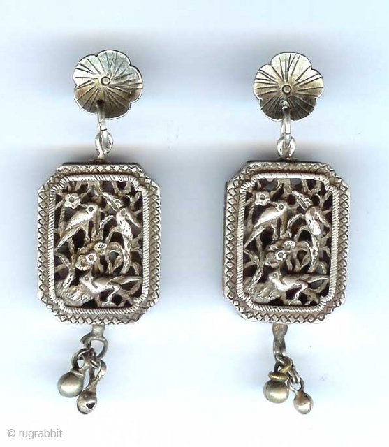 Silver boxes with openwork, Chinese made into post  earrings 19th c componants