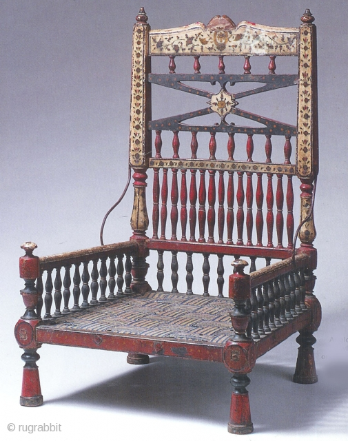 Rare Anglo Indian chair in original paint and woven seat  18th c