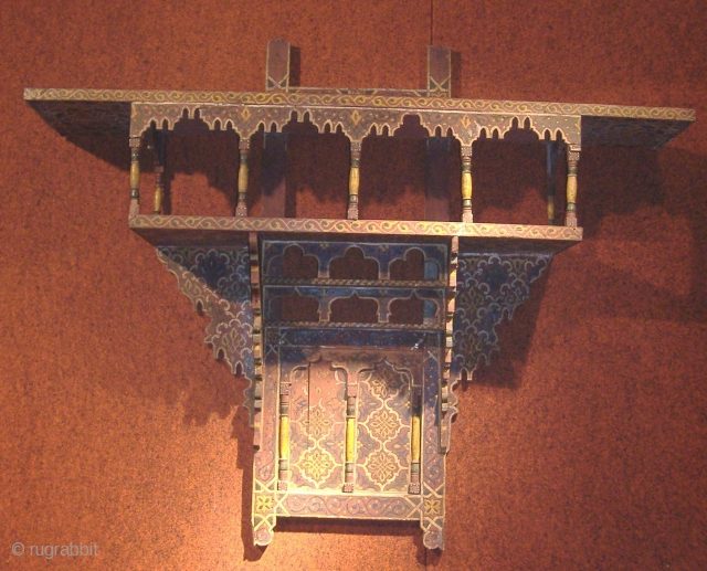 Antique Moroccan shelving unit with original paint possibly late 18th / to mid 19th c Original shelves like this are hard to find now as most are newly made for tourist trade.  ...