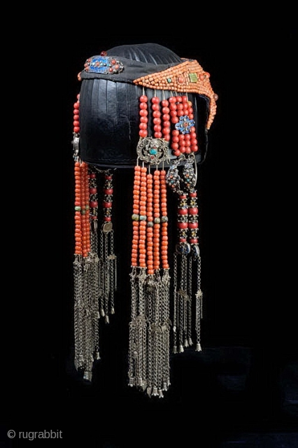 Headdress of coral, Peking glass, enameled silver, cloth from Ordos Banner Mongolia early 20th c