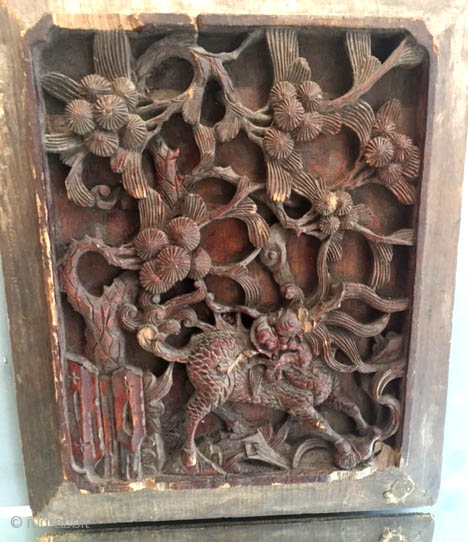 Chinese temple tile with very  refined deep carving 19th c