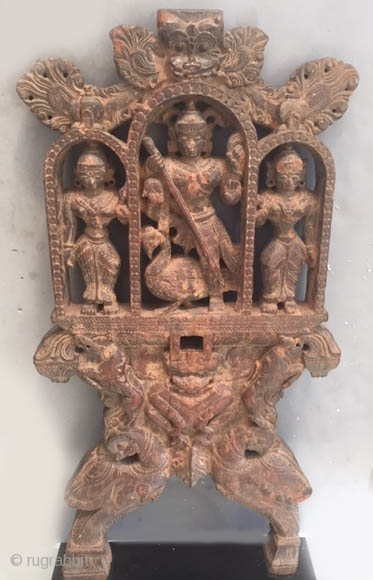 Early Indian wood group probably at one time from a parade chariot  or other object that was used for religious purposes. Early export stamp on reverse. 18th/19th or possibly earlier.