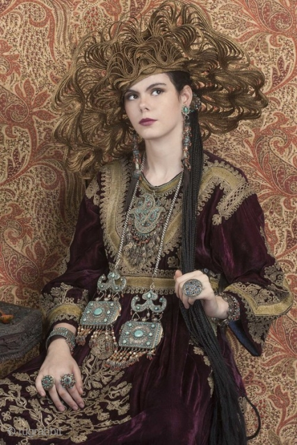 Hazara dress in velvet with gold embroidery , early 20th c