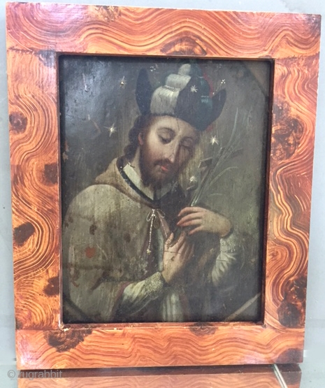 Early Well executed painting of St  John of Nepomunk on copper .  famous patron St of Bohemia but found also in the Hispanic world. custom grain painted frame by Linda  ...