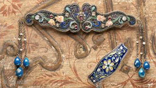 Transylvanian cloak clasp, enameling with lapis, gardnets 19th c  and Central Asian enamel bracelet with Russian enameling early 20th c
