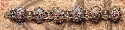 Transylvanian garnet bracelet with mother of pearl back 19th c