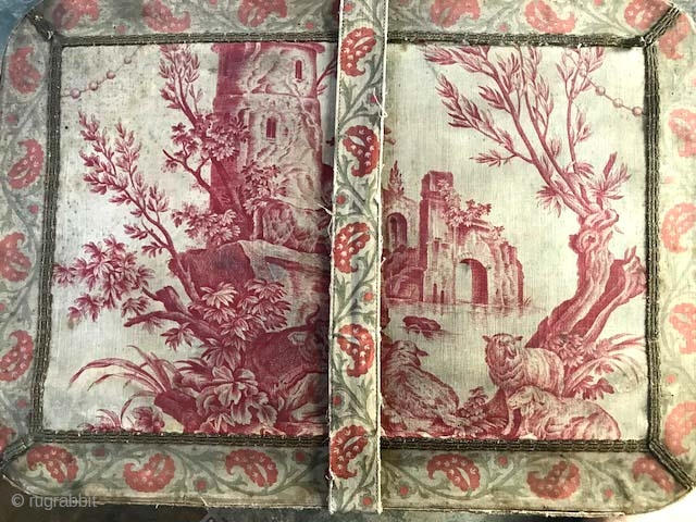 Antique 19th c document box with toile cover in scenic and paisley design with strap and buckle , lined with silk of pistachio color. Condition is good for age has  ...