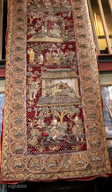 Good old Kalinga banner form textile with gold, silver and crystal bead detail. Burma