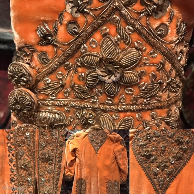 Maharajah's mini coat for a small prince. ( can be worn by a female as my daughter wore it for years ) Real gold and silver embroidery on velvet. late 19th  ...