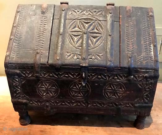 Antique carved wood Indian box with early style strap hinges. A common style but not common in age , this was collected when there were really nice old ones and not reproductions  ...