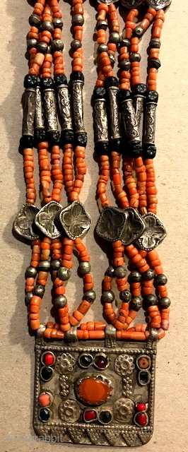 Coral, jet, silver and carnelian necklace , Tadjik . Very nice quality one of the type.