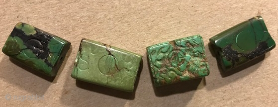 Carved turquoise beads from Mongolia