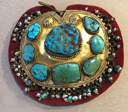 Kaffa headdress ornament of 22K gold, turquoise and seed pearls Nadj Saudia Arabia early 20th c  (can be worn as a pin also )