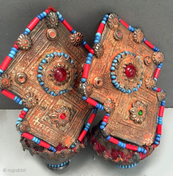 Pair of gilt silver collectors earrings glass beaded and inlaid  from Afghanistan,late 19th, early 20th c