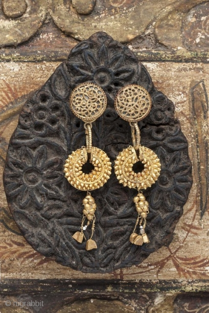 Pair of Ancient  22K gold earrings from Persia 200 AD with added tops Design Linda Pastorino