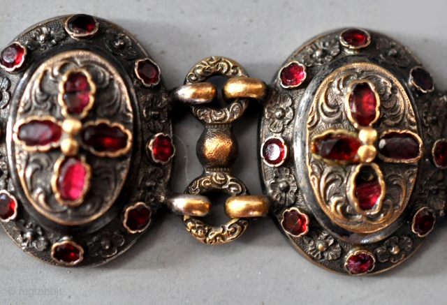 silver and gilt bracelet with garnets and mother of pearl back , Austro Hungarian 19th c.