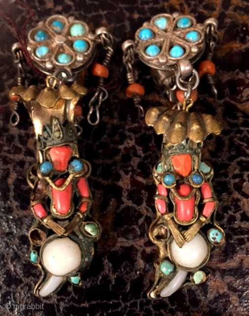 Designed earrings Utilizing components from India and Uzbekistan. Gilt silver inlaid with coral and turquoise early 20th c