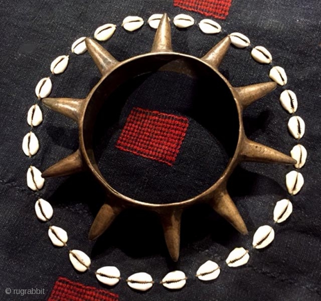 Heirloom Naga cuff with spikes , bell metal.