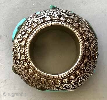 Silver inlaid with turquoise Tibetan thumb ring purchased in North Indian border of Tibet 35 years ago. lt 18th/19th c