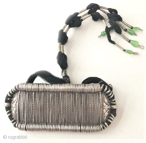 Bezu band silver with original cord, extra wide version from Rajasthan India. early to mid 20th c