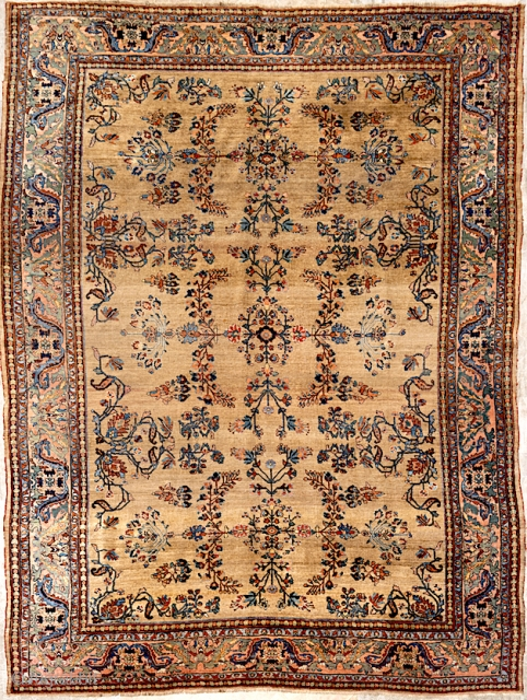 Bidjar Carpet-- approx 9 ft 2 in x 12 ft 4 in. Wool foundation. Unique camel color is most likely undyed wool. Lot 535A-- https://www.invaluable.com/auction-lot/antique-bidjar-carpet-circa-1910-6CF48F8B20. To be auctioned Saturday, 10 AM CST.  ...