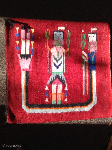 "Nice Navajo Somewhere over the Rainbow Yei, bagface size flatweave, 18""x18"", Hand woven, Good condition, rare red field, from the 1950's early 1960's, has been professionally cleaned.  Very fine, tight weave.  ..."