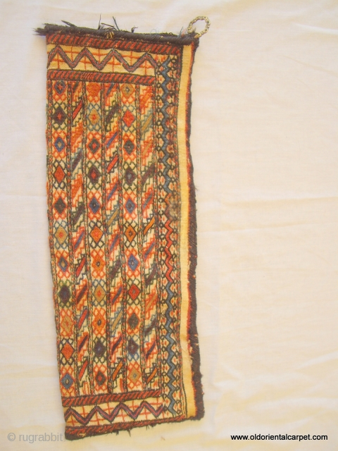 PERSIAN BACHTIAR TENT BAG / ARTIFACT. This very unusual bag is woven as a small embroidered kilim which has been doubled over and two sides overcast in goat hair to form a  ...