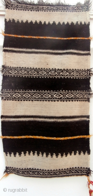 MOROCCAN BERBER KILIM/FLAT WEAVE. A small and finely woven piece which may have been for a dowry and subsequently put to use as a cloth upon which to serve tea on special  ...
