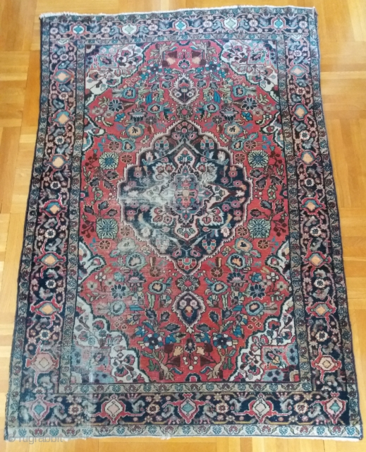 Persian rug, Azerbaijan area, 137/144 x 206 cm, circa 1930: don't know what it exactly is (I collect Tibetan rugs), but it is cheap and very warm at home although the pile  ...