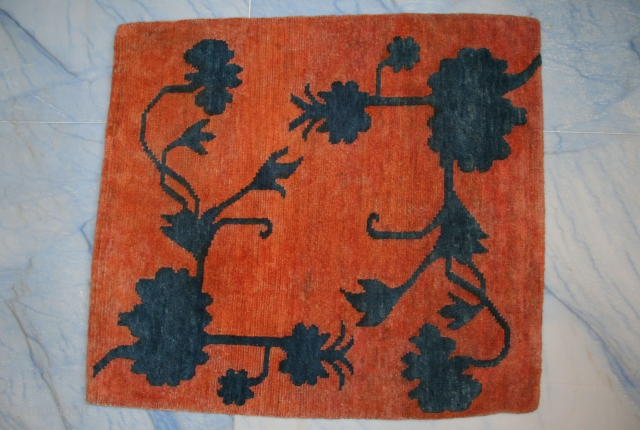 """Lovely Tibetan mat, rare pattern with indigo flowers cut in high relief (Tib.: buma rimo, i.e. """"cut like a mountain""""), good condition, uncommon, circa 1920-30, Xmas special."""