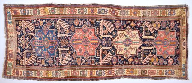 Early 19th Century Caucasian Akstafa Rug.As Found it.It Has Good Animals Details.Size 116 x 282 cm