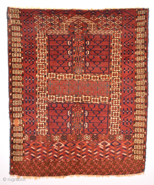 Second hald of 19th Century Tekke Ensi.Of comparatively coarse weave, with a light palette and large, well-drawn designs, this door hanging by the Tekke tribe is an early example of its type,  ...