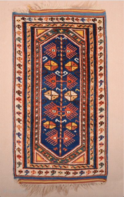 The golden yellow field of this classic Megri is divided into one section by one blue-ground vertical design bar containing tree forms.The light and warm palette is a typical feature of rugs  ...
